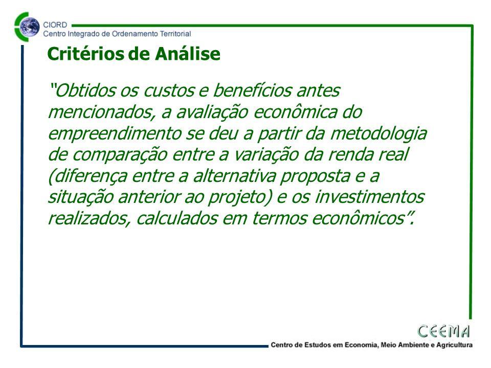 Obtidos os custos e benefícios antes mencionados, a avaliação econômica do empreendimento se deu a partir da metodologia de comparação entre a variaçã