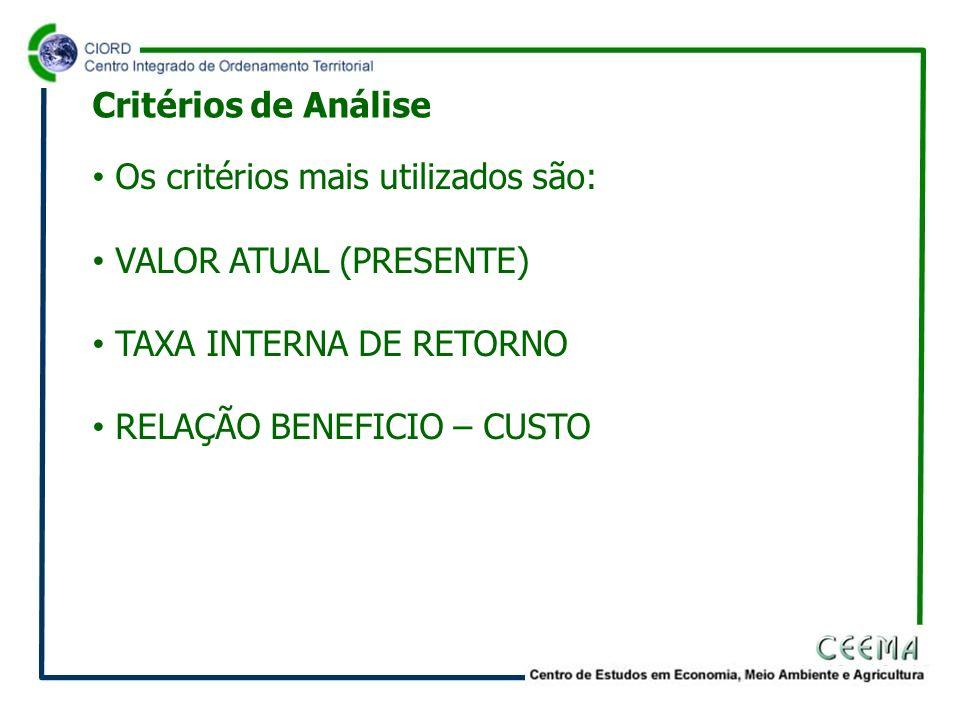 Os critérios mais utilizados são: VALOR ATUAL (PRESENTE) TAXA INTERNA DE RETORNO RELAÇÃO BENEFICIO – CUSTO Critérios de Análise