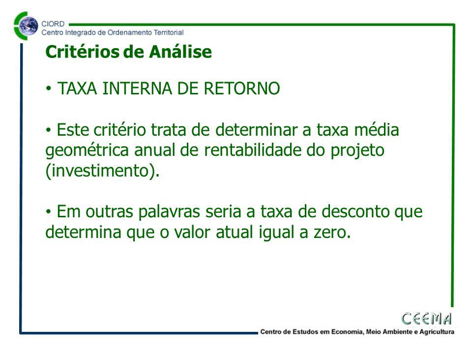 TAXA INTERNA DE RETORNO Este critério trata de determinar a taxa média geométrica anual de rentabilidade do projeto (investimento). Em outras palavras