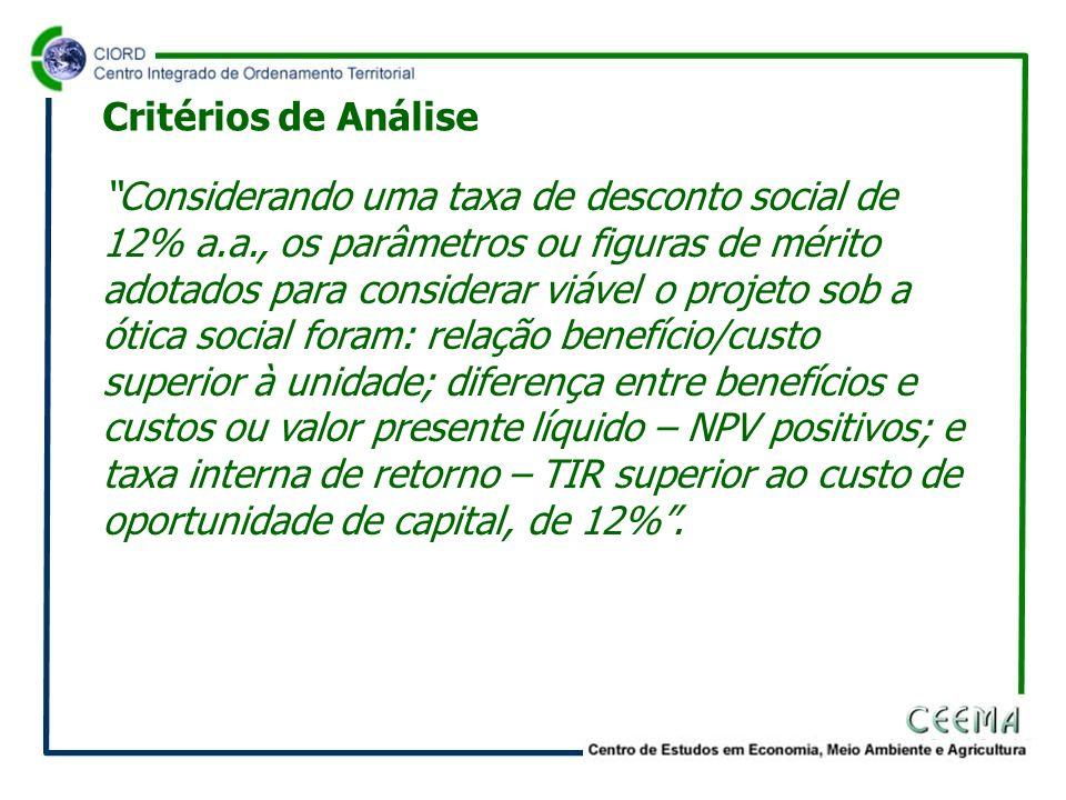 Considerando uma taxa de desconto social de 12% a.a., os parâmetros ou figuras de mérito adotados para considerar viável o projeto sob a ótica social