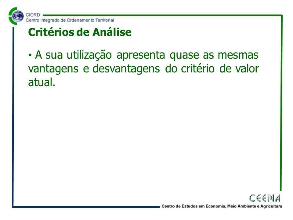 A sua utilização apresenta quase as mesmas vantagens e desvantagens do critério de valor atual. Critérios de Análise