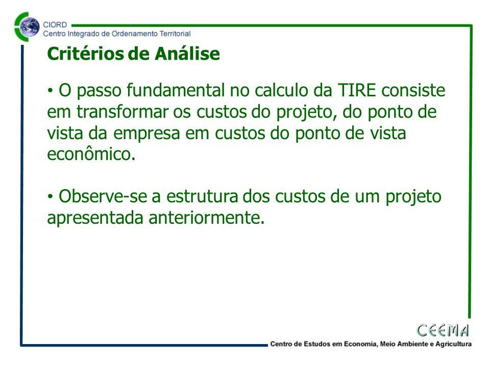 O passo fundamental no calculo da TIRE consiste em transformar os custos do projeto, do ponto de vista da empresa em custos do ponto de vista econômic
