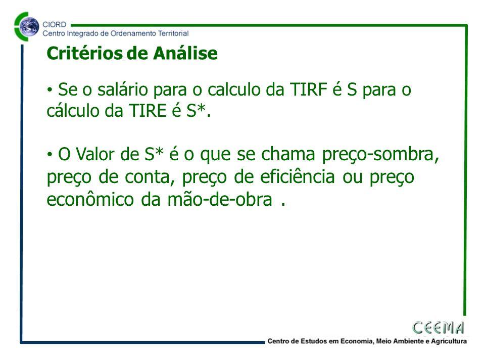 Se o salário para o calculo da TIRF é S para o cálculo da TIRE é S*. O Valor de S* é o que se chama preço-sombra, preço de conta, preço de eficiência