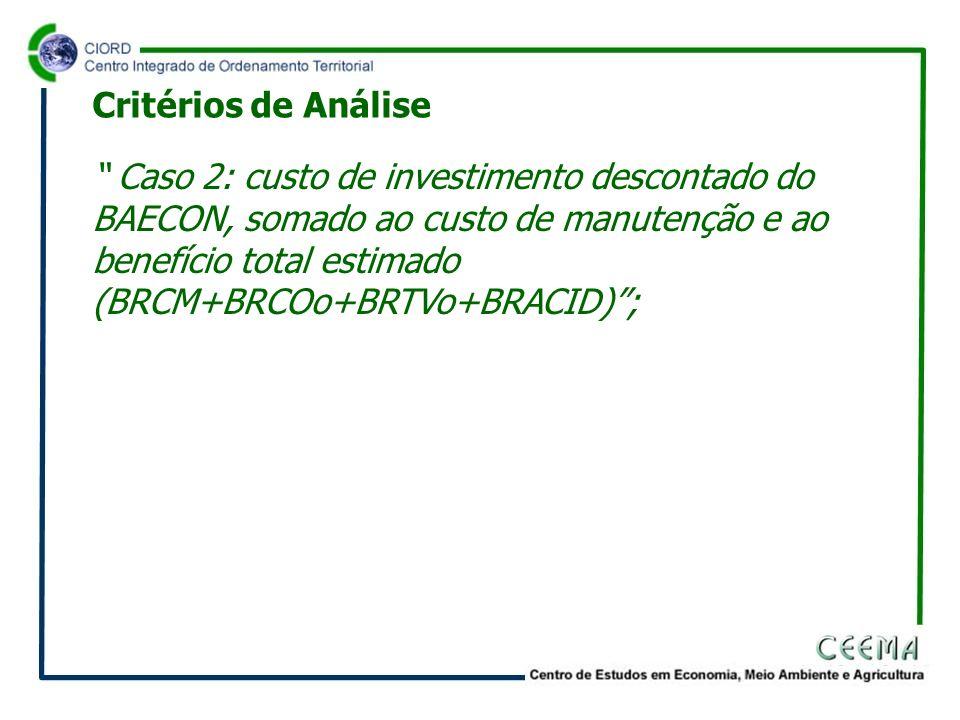 Caso 2: custo de investimento descontado do BAECON, somado ao custo de manutenção e ao benefício total estimado (BRCM+BRCOo+BRTVo+BRACID); Critérios d