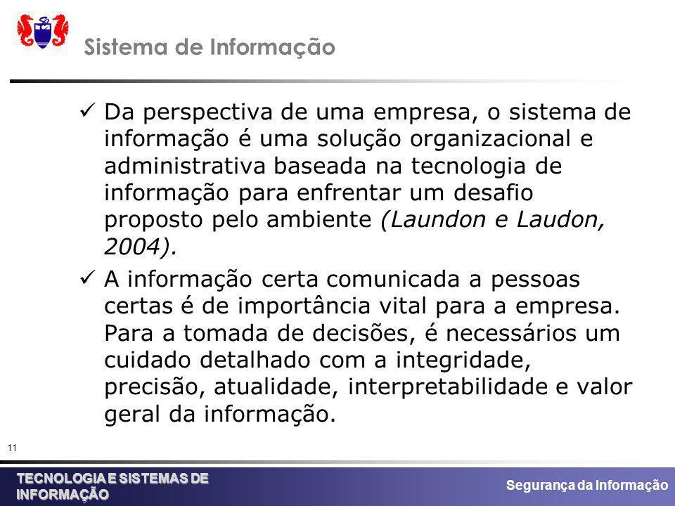 Segurança da Informação TECNOLOGIA E SISTEMAS DE INFORMAÇÃO 11 Sistema de Informação Da perspectiva de uma empresa, o sistema de informação é uma solu