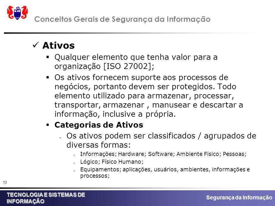 Segurança da Informação TECNOLOGIA E SISTEMAS DE INFORMAÇÃO 13 Conceitos Gerais de Segurança da Informação Ativos Qualquer elemento que tenha valor pa