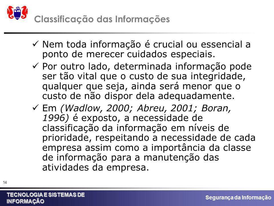 Segurança da Informação TECNOLOGIA E SISTEMAS DE INFORMAÇÃO 14 Classificação das Informações Nem toda informação é crucial ou essencial a ponto de mer
