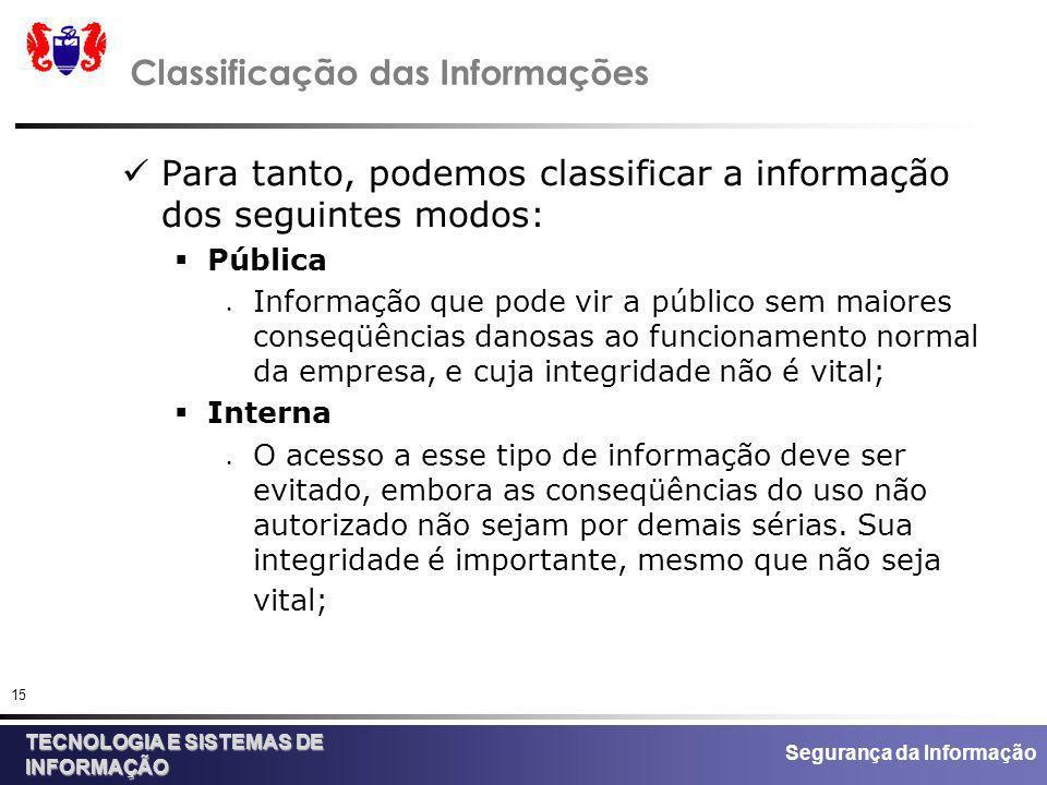 Segurança da Informação TECNOLOGIA E SISTEMAS DE INFORMAÇÃO 15 Classificação das Informações Para tanto, podemos classificar a informação dos seguinte