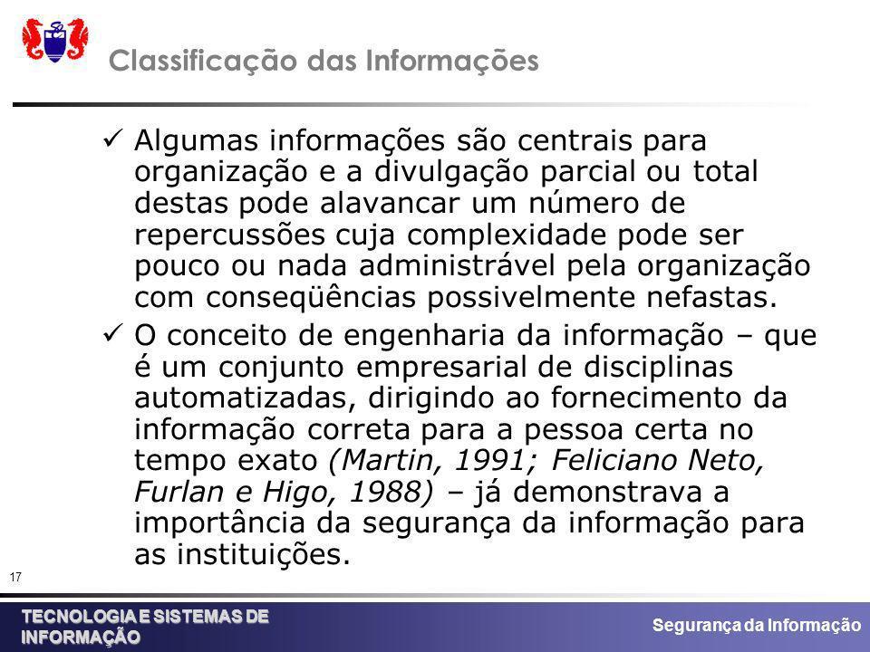 Segurança da Informação TECNOLOGIA E SISTEMAS DE INFORMAÇÃO 17 Classificação das Informações Algumas informações são centrais para organização e a div