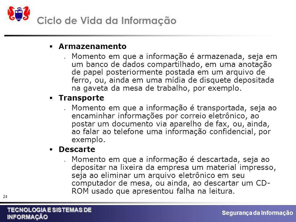 Segurança da Informação TECNOLOGIA E SISTEMAS DE INFORMAÇÃO 24 Ciclo de Vida da Informação Armazenamento Momento em que a informação é armazenada, sej