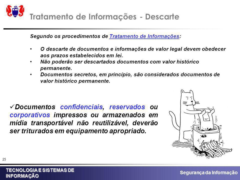 Segurança da Informação TECNOLOGIA E SISTEMAS DE INFORMAÇÃO 25 Tratamento de Informações - Descarte Segundo os procedimentos de Tratamento de Informaç