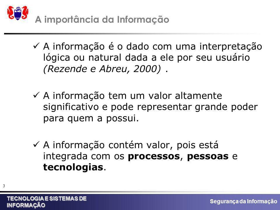 Segurança da Informação TECNOLOGIA E SISTEMAS DE INFORMAÇÃO 3 A importância da Informação A informação é o dado com uma interpretação lógica ou natura