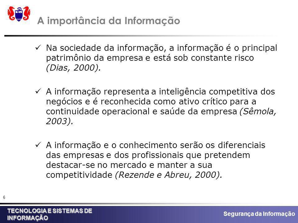 Segurança da Informação TECNOLOGIA E SISTEMAS DE INFORMAÇÃO 6 A importância da Informação Na sociedade da informação, a informação é o principal patri