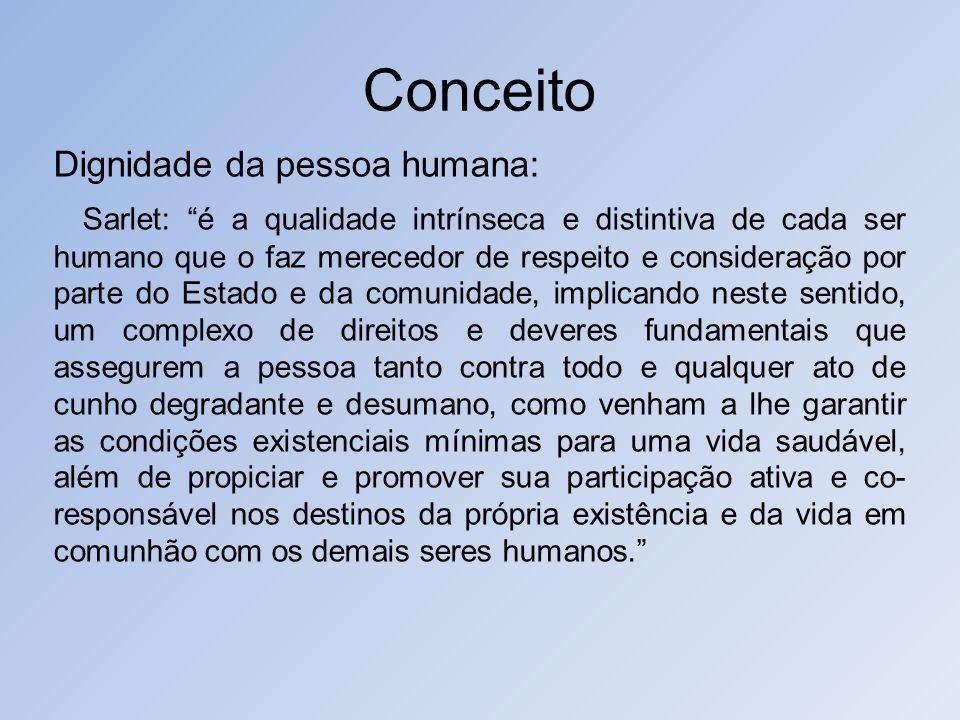 Conceito Dignidade da pessoa humana: Sarlet: é a qualidade intrínseca e distintiva de cada ser humano que o faz merecedor de respeito e consideração p