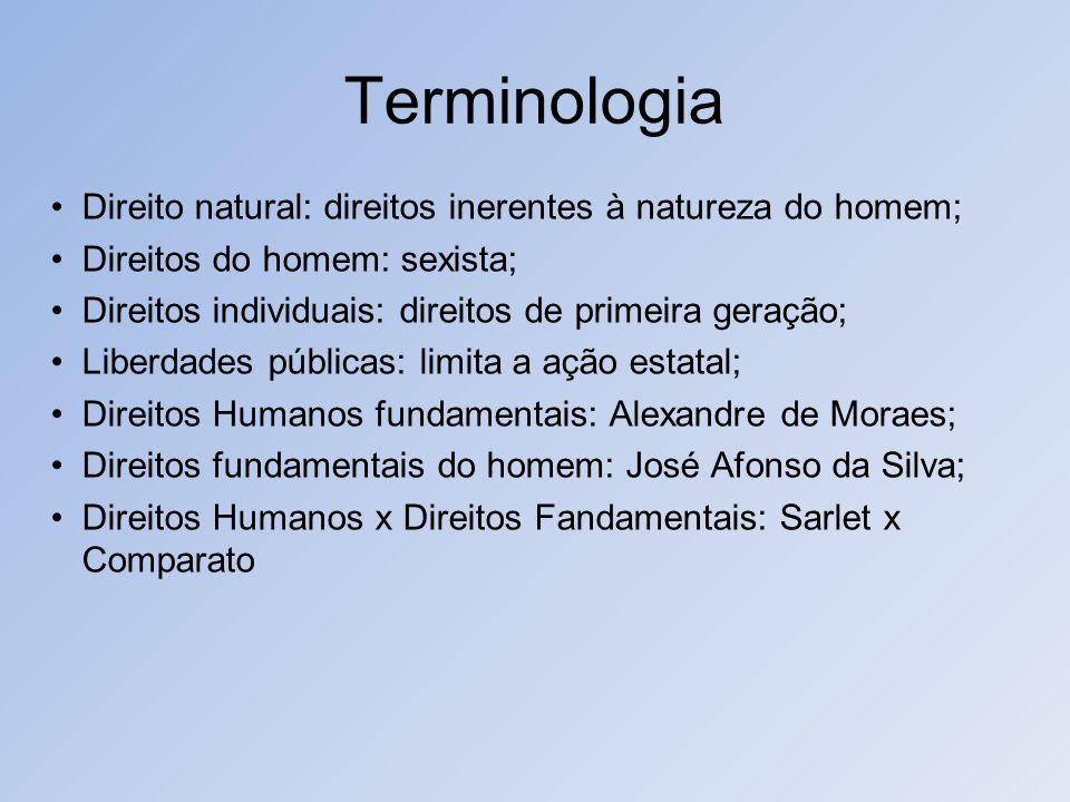 Terminologia Direito natural: direitos inerentes à natureza do homem; Direitos do homem: sexista; Direitos individuais: direitos de primeira geração;