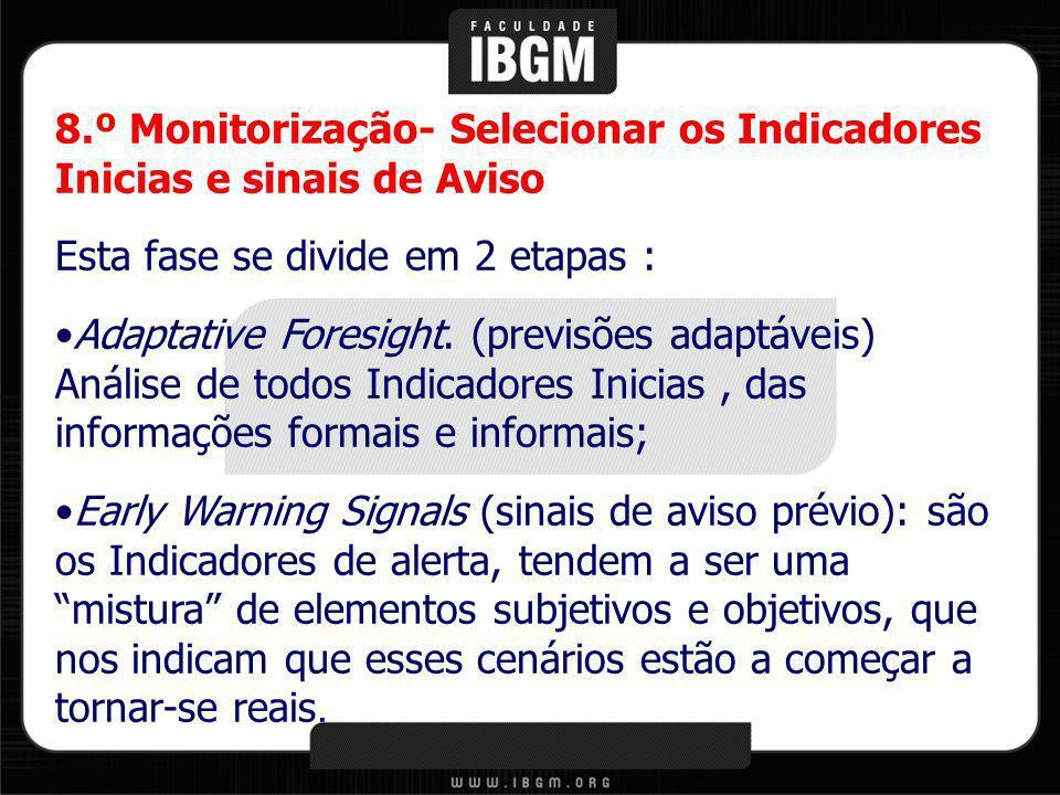 8.º Monitorização- Selecionar os Indicadores Inicias e sinais de Aviso Esta fase se divide em 2 etapas : Adaptative Foresight. (previsões adaptáveis)