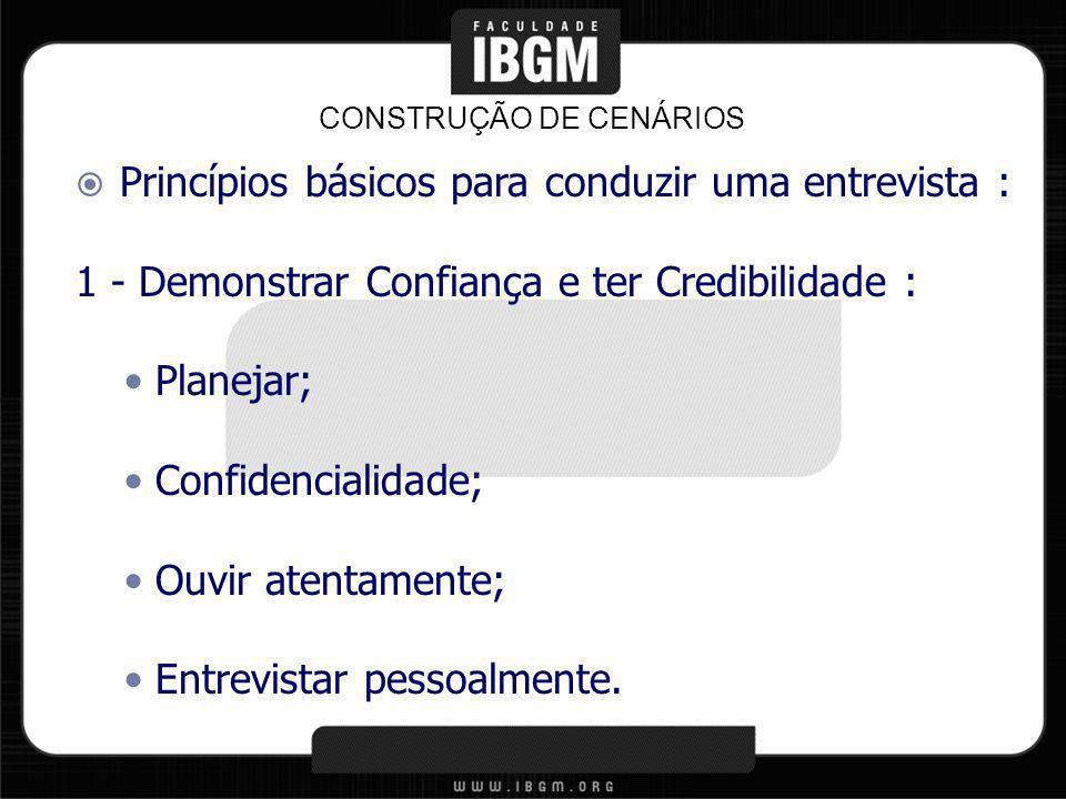Princípios básicos para conduzir uma entrevista : 1 - Demonstrar Confiança e ter Credibilidade : Planejar; Confidencialidade; Ouvir atentamente; Entre