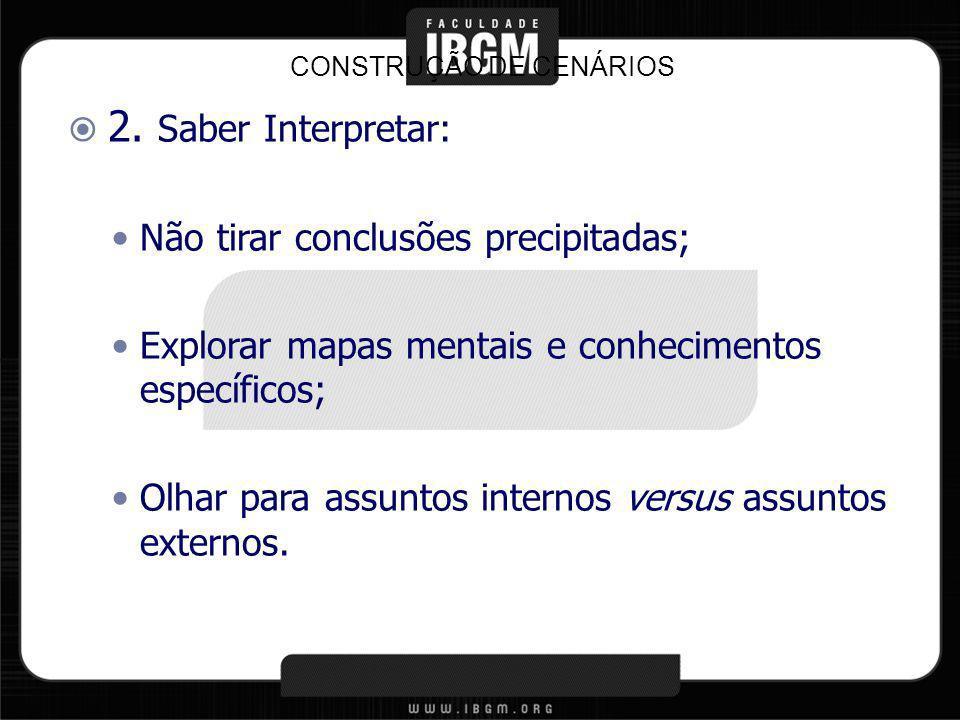 2. Saber Interpretar: Não tirar conclusões precipitadas; Explorar mapas mentais e conhecimentos específicos; Olhar para assuntos internos versus assun