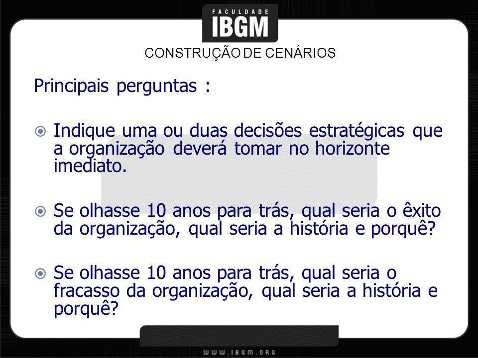 CONSTRUÇÃO DE CENÁRIOS Quais os obstáculos encontrados pela organização no decorrer da sua história.
