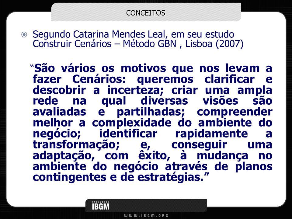 CONCEITOS Segundo Catarina Mendes Leal, em seu estudo Construir Cenários – Método GBN, Lisboa (2007) São vários os motivos que nos levam a fazer Cenár