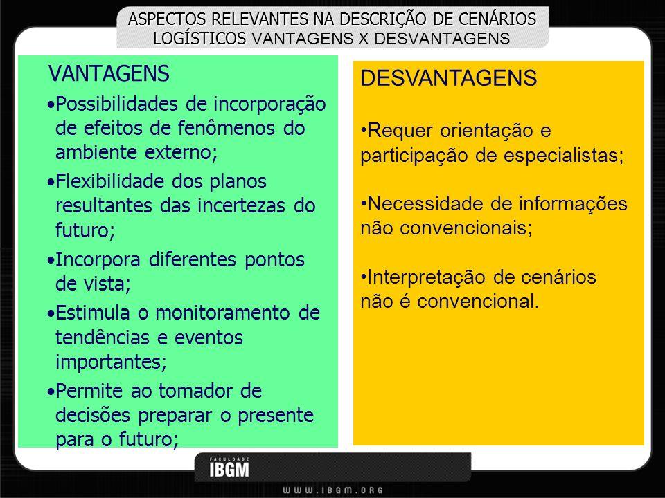 ASPECTOS RELEVANTES NA DESCRIÇÃO DE CENÁRIOS LOGÍSTICOS ASPECTOS RELEVANTES NA DESCRIÇÃO DE CENÁRIOS LOGÍSTICOS VANTAGENS X DESVANTAGENS VANTAGENS Pos