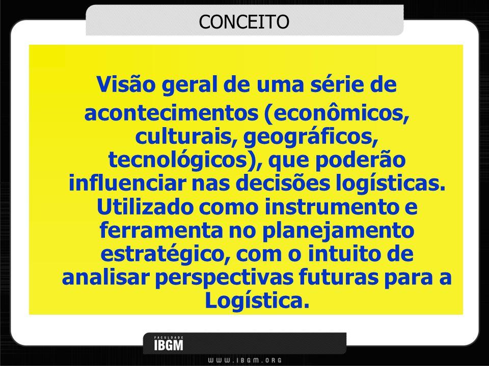 CONCEITO Visão geral de uma série de acontecimentos (econômicos, culturais, geográficos, tecnológicos), que poderão influenciar nas decisões logística