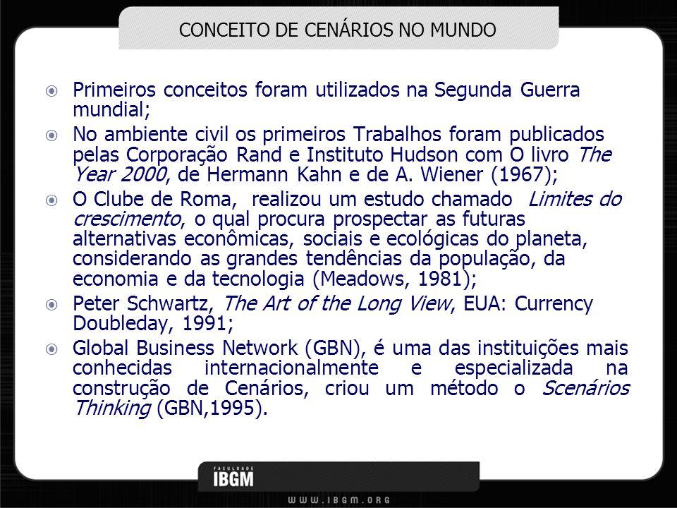 CONCEITO DE CENÁRIOS NO MUNDO Primeiros conceitos foram utilizados na Segunda Guerra mundial; No ambiente civil os primeiros Trabalhos foram publicado