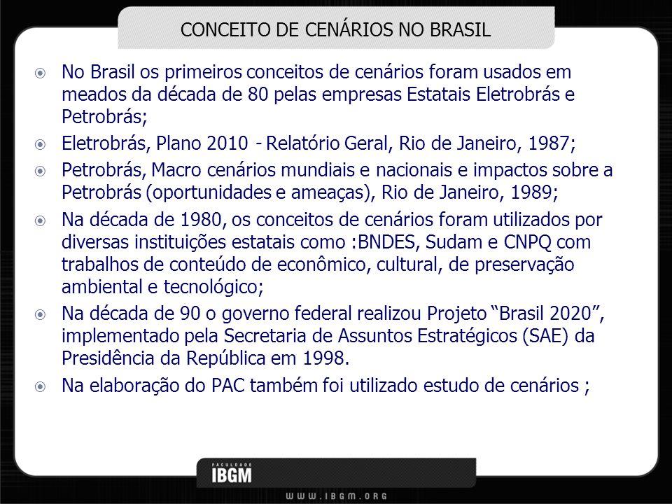 CONCEITO DE CENÁRIOS NO BRASIL No Brasil os primeiros conceitos de cenários foram usados em meados da década de 80 pelas empresas Estatais Eletrobrás