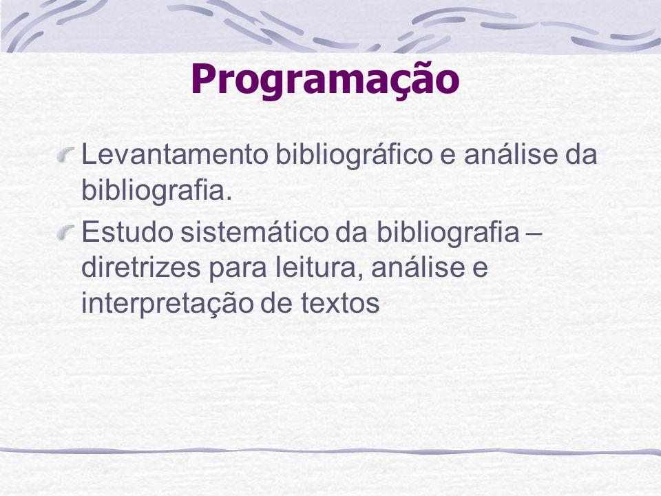 Programação Levantamento bibliográfico e análise da bibliografia. Estudo sistemático da bibliografia – diretrizes para leitura, análise e interpretaçã