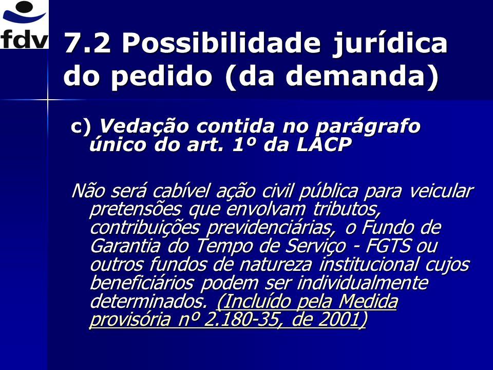 7.2 Possibilidade jurídica do pedido (da demanda) c) Vedação contida no parágrafo único do art.