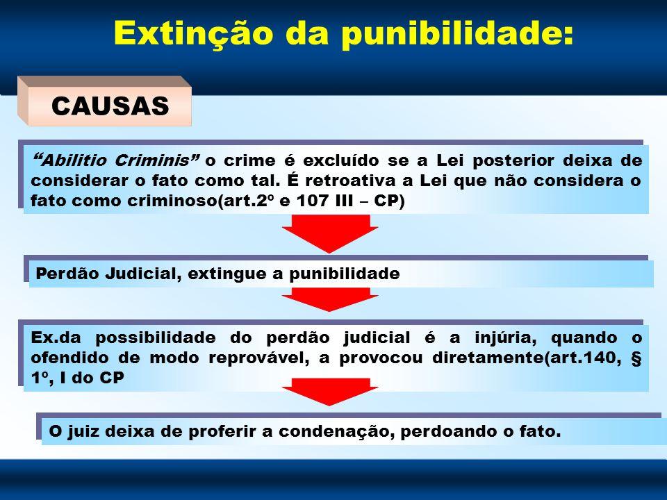 Extinção da punibilidade: Abilitio Criminis o crime é excluído se a Lei posterior deixa de considerar o fato como tal. É retroativa a Lei que não cons