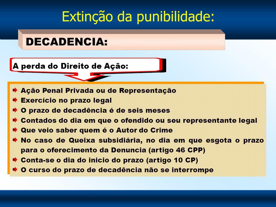 Extinção da punibilidade: DECADENCIA: Ação Penal Privada ou de Representação Exercício no prazo legal O prazo de decadência é de seis meses Contados d
