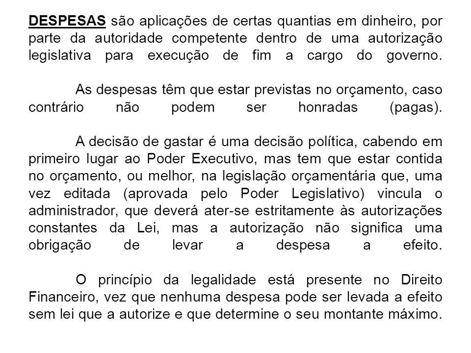 DESPESAS são aplicações de certas quantias em dinheiro, por parte da autoridade competente dentro de uma autorização legislativa para execução de fim a cargo do governo.