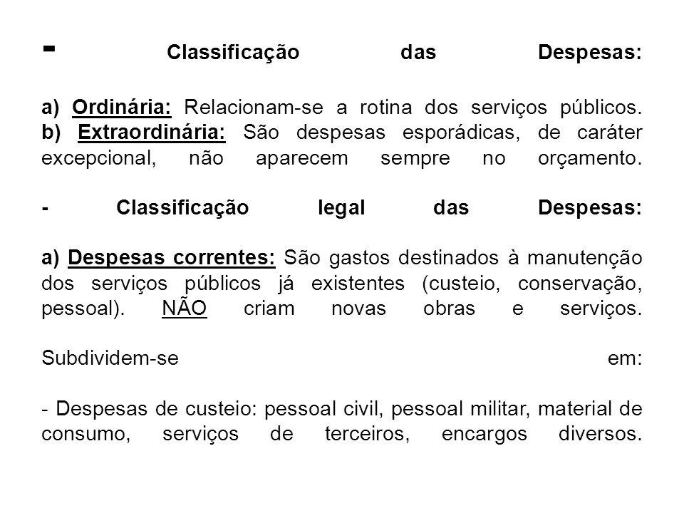 - Classificação das Despesas: a) Ordinária: Relacionam-se a rotina dos serviços públicos.