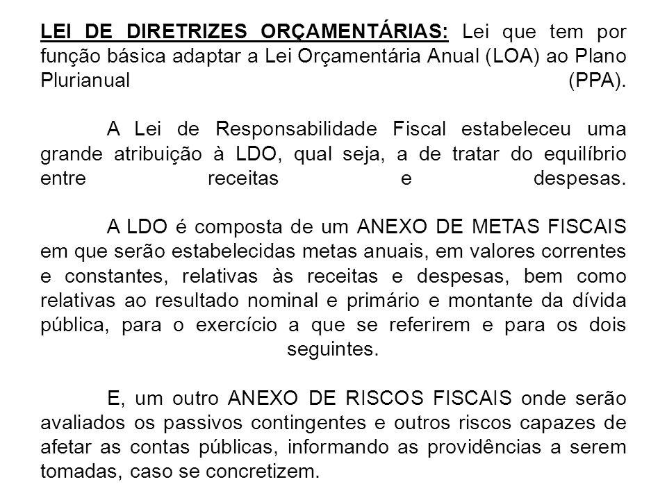 LEI DE DIRETRIZES ORÇAMENTÁRIAS: Lei que tem por função básica adaptar a Lei Orçamentária Anual (LOA) ao Plano Plurianual (PPA).