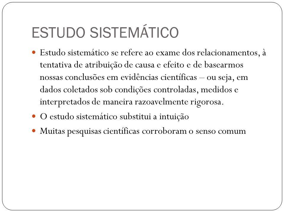 ESTUDO SISTEMÁTICO Estudo sistemático se refere ao exame dos relacionamentos, à tentativa de atribuição de causa e efeito e de basearmos nossas conclu