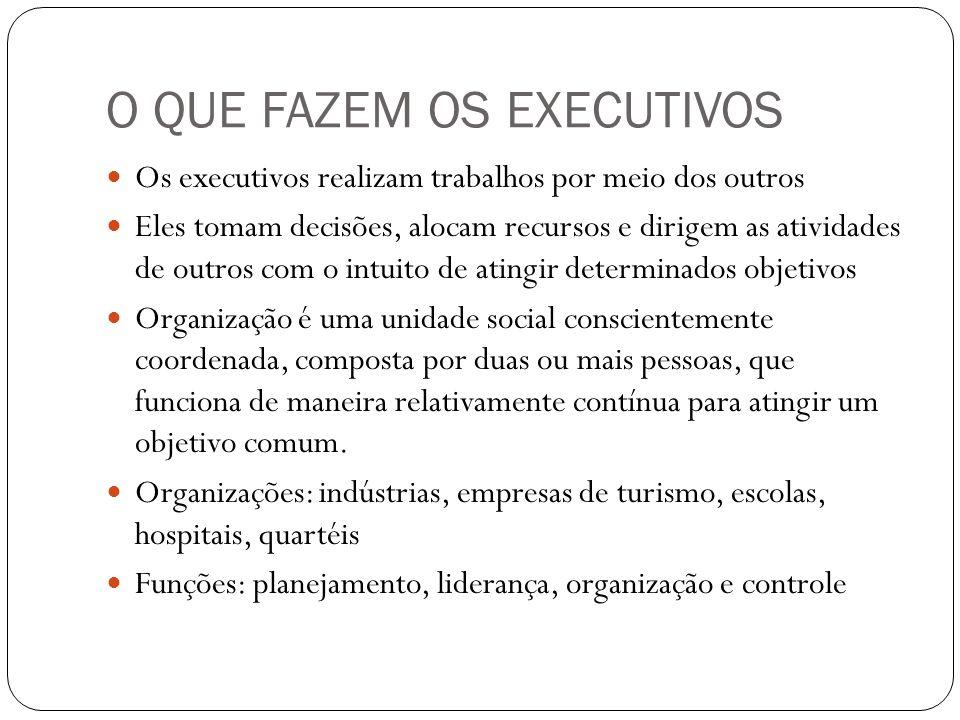 O QUE FAZEM OS EXECUTIVOS Os executivos realizam trabalhos por meio dos outros Eles tomam decisões, alocam recursos e dirigem as atividades de outros
