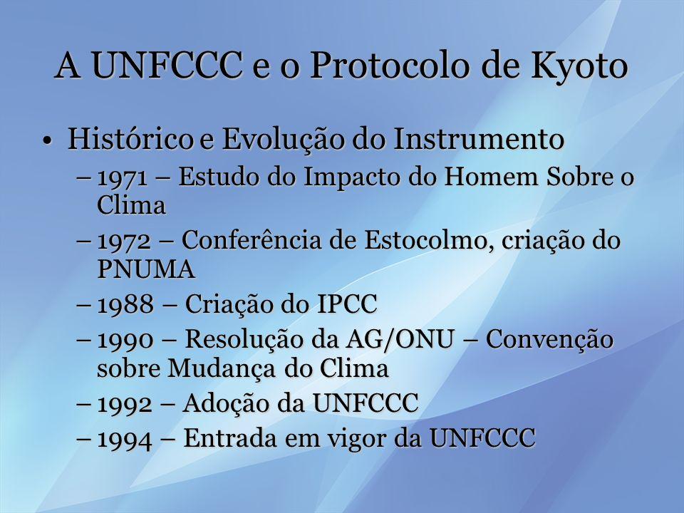 A UNFCCC e o Protocolo de Kyoto Histórico e Evolução do InstrumentoHistórico e Evolução do Instrumento –1995 – CoP-1 –11/dez/97, Kioto – CoP-3 – Surge o Protocolo, como emenda à UNFCCC –16/mar/98 – Abertura para assinaturas –15/mar/99 – 1 º ratificação –18/nov/04 – ratificação russa –16/fev/05 – entrada em vigor