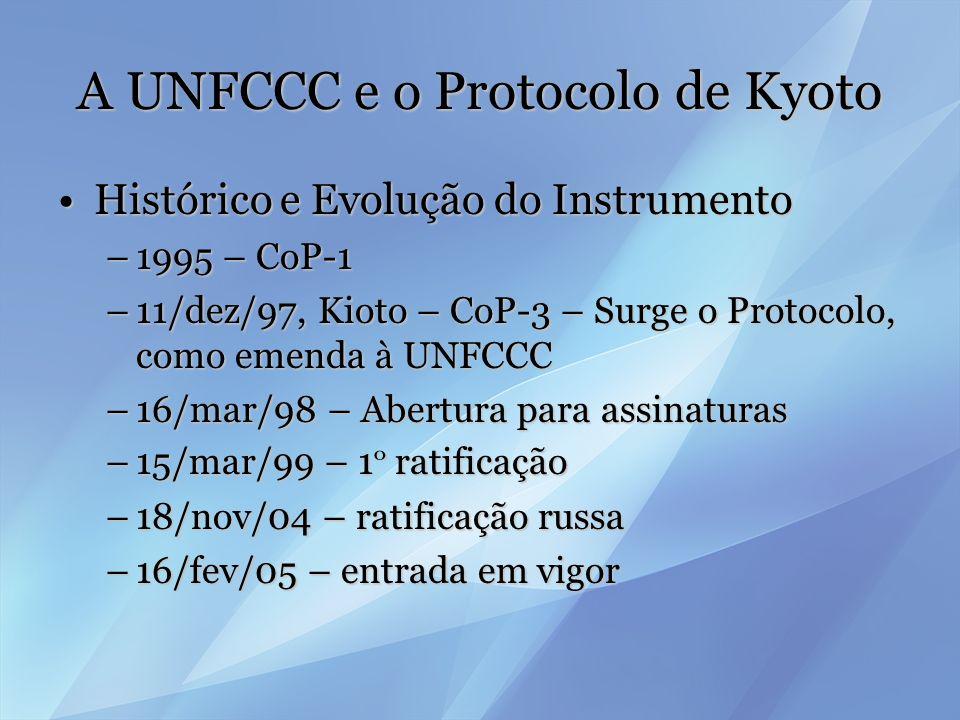 A UNFCCC e o Protocolo de Kyoto O modelo bigrupalO modelo bigrupal Modelo baseado na responsabilidade comum mas diferenciada (arts.