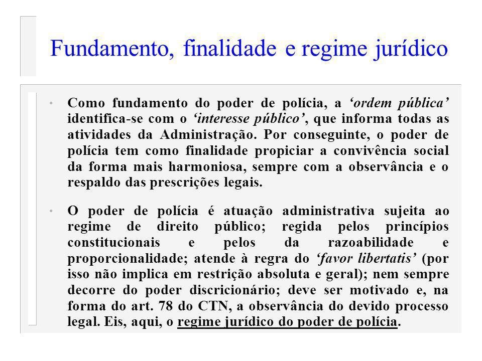 Fundamento, finalidade e regime jurídico Como fundamento do poder de polícia, a ordem pública identifica-se com o interesse público, que informa todas