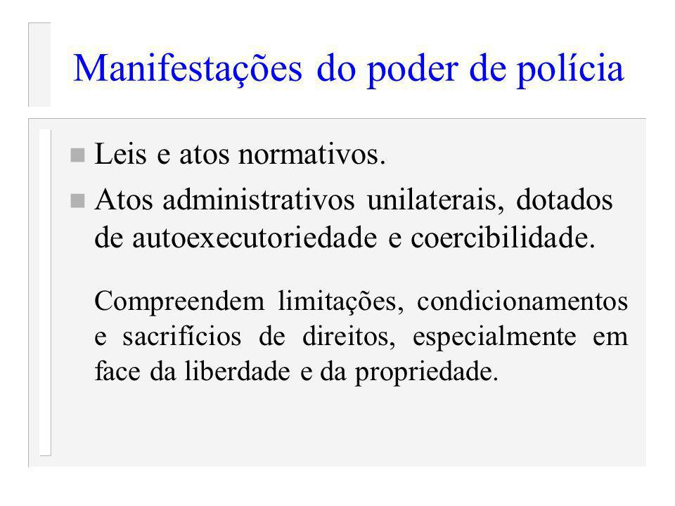 Manifestações do poder de polícia n Leis e atos normativos. n Atos administrativos unilaterais, dotados de autoexecutoriedade e coercibilidade. Compre