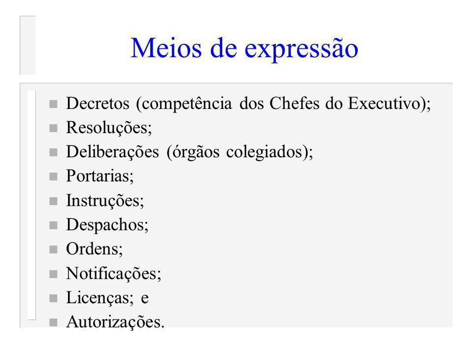 Meios de expressão n Decretos (competência dos Chefes do Executivo); n Resoluções; n Deliberações (órgãos colegiados); n Portarias; n Instruções; n De