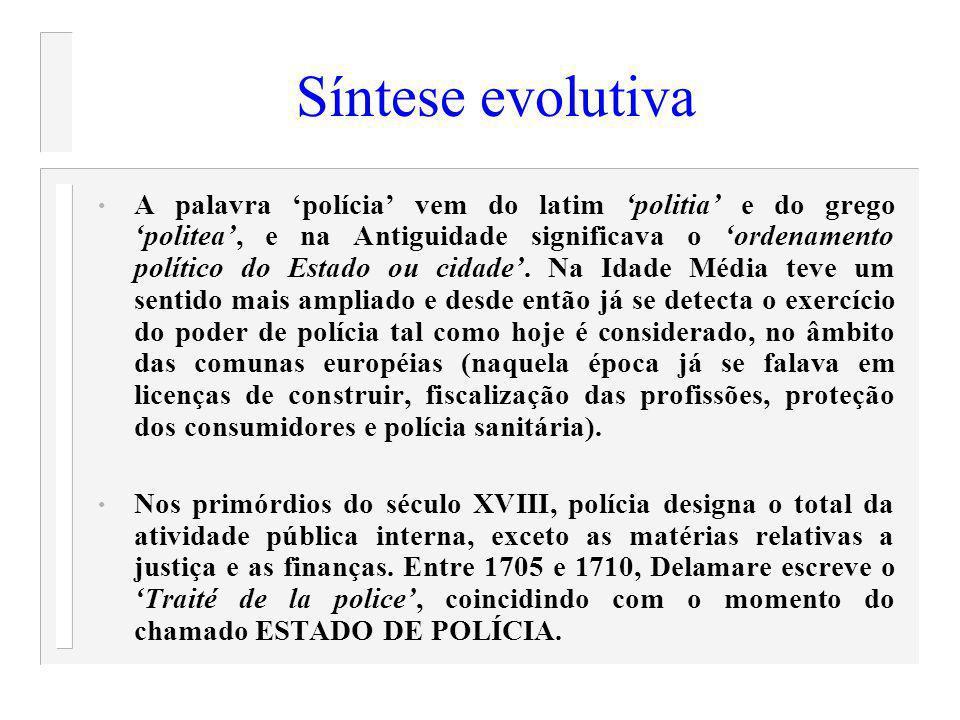 Síntese evolutiva O Estado de Polícia realizava uma intromissão opressiva na vida dos particulares, razão porque o sentido amplo de polícia deu lugar à noção de Administração Pública.