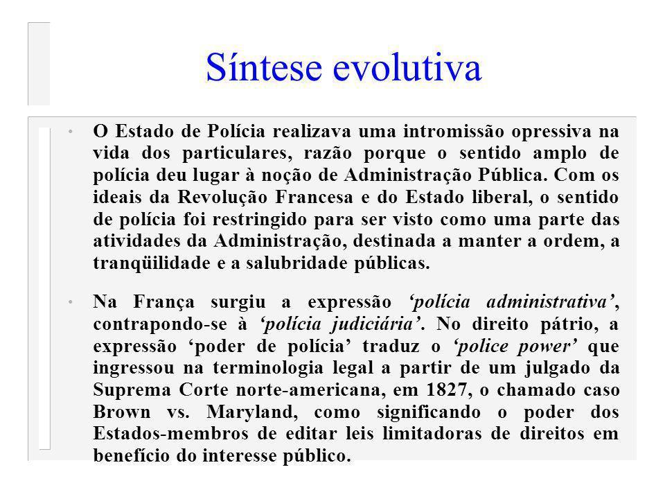 Síntese evolutiva O Estado de Polícia realizava uma intromissão opressiva na vida dos particulares, razão porque o sentido amplo de polícia deu lugar