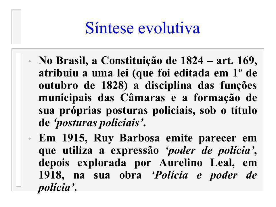 Síntese evolutiva No Brasil, a Constituição de 1824 – art. 169, atribuiu a uma lei (que foi editada em 1º de outubro de 1828) a disciplina das funções