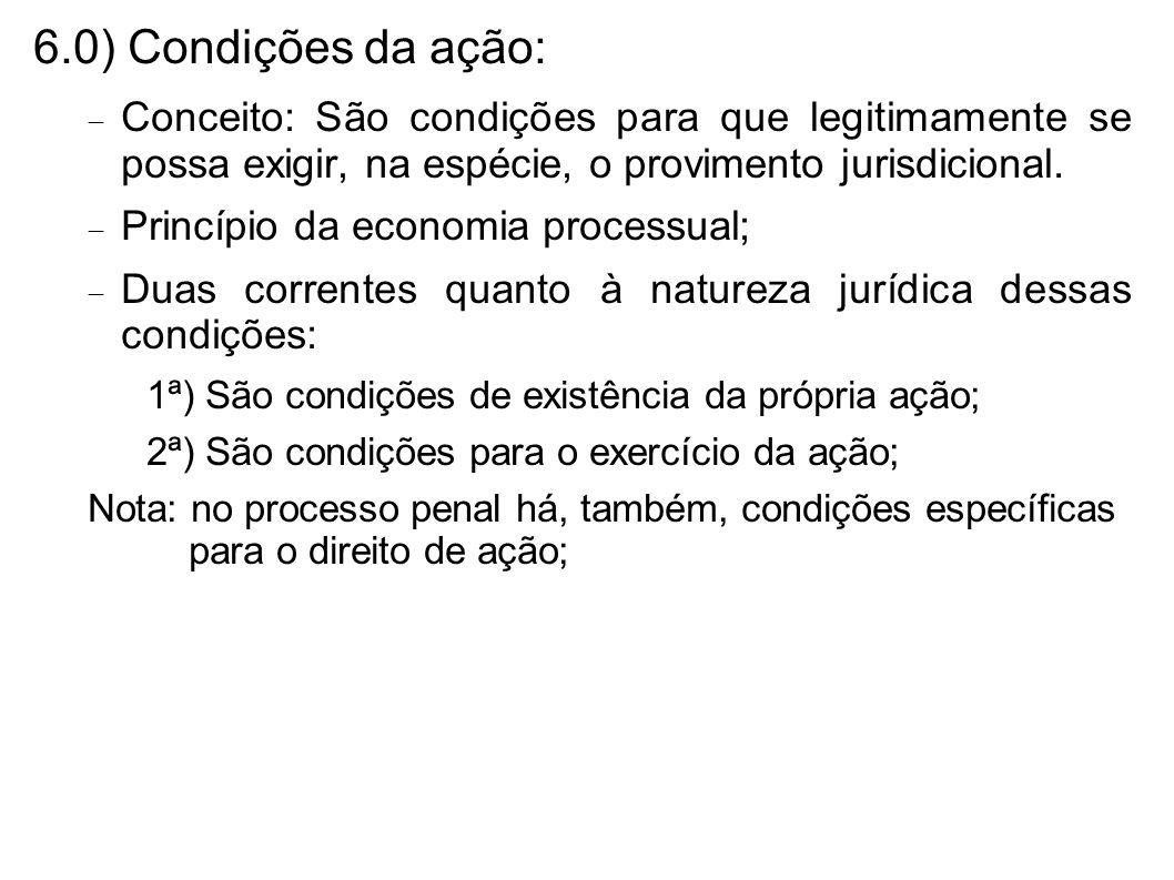 6.0) Condições da ação: Conceito: São condições para que legitimamente se possa exigir, na espécie, o provimento jurisdicional. Princípio da economia