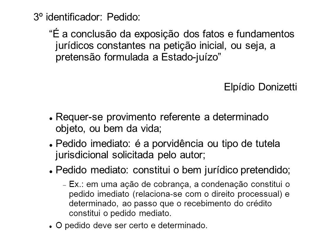 3º identificador: Pedido: É a conclusão da exposição dos fatos e fundamentos jurídicos constantes na petição inicial, ou seja, a pretensão formulada a
