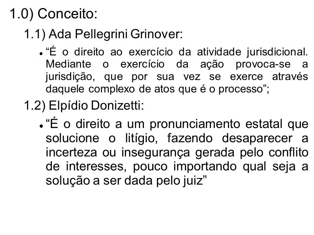 1.0) Conceito: 1.1) Ada Pellegrini Grinover: É o direito ao exercício da atividade jurisdicional. Mediante o exercício da ação provoca-se a jurisdição