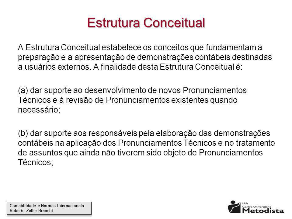 Contabilidade e Normas Internacionais Roberto Zeller Branchi Contabilidade e Normas Internacionais Roberto Zeller Branchi Estrutura Conceitual A Estru