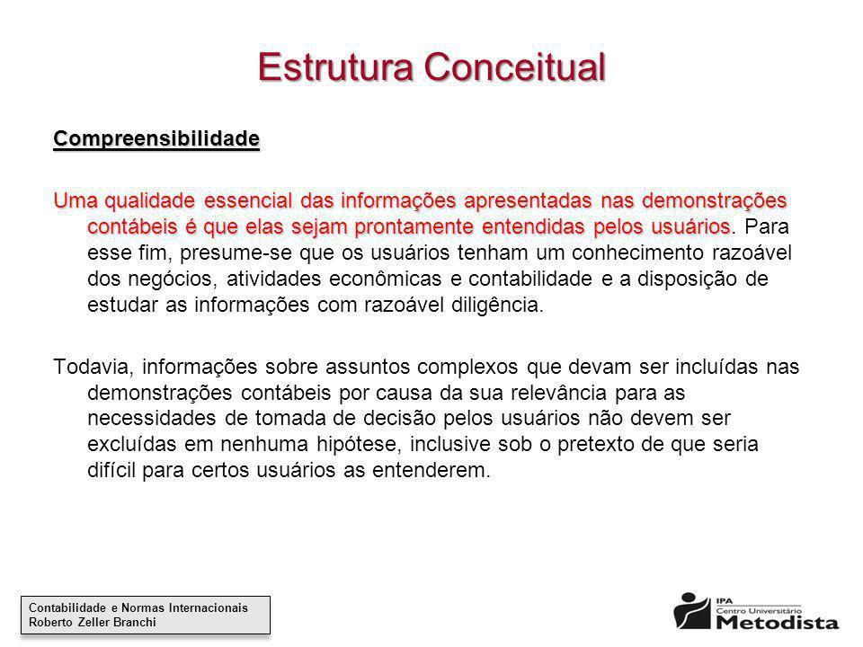 Contabilidade e Normas Internacionais Roberto Zeller Branchi Contabilidade e Normas Internacionais Roberto Zeller Branchi Estrutura Conceitual Compree